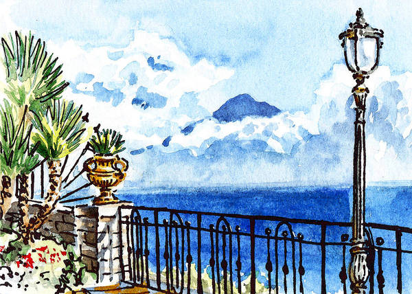 Painting - Sketching Italy Sorrento View On Volcano Vesuvius by Irina Sztukowski