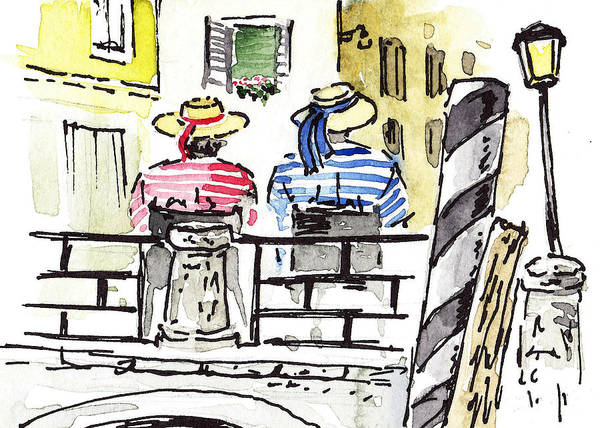 Sketching Painting - Sketching Italy Two Gondoliers In Venice by Irina Sztukowski