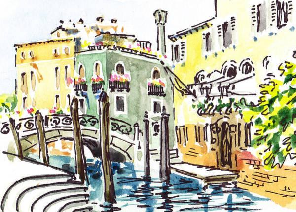 Sketching Painting - Sketching Italy Venice Canale by Irina Sztukowski
