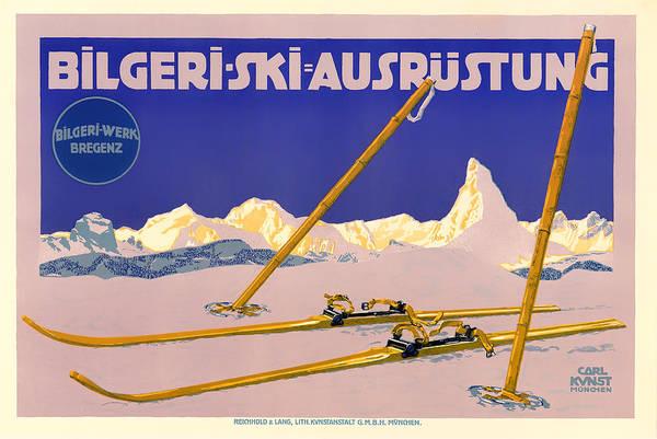 Brochure Drawing - Ski Austria 1910 by Mountain Dreams