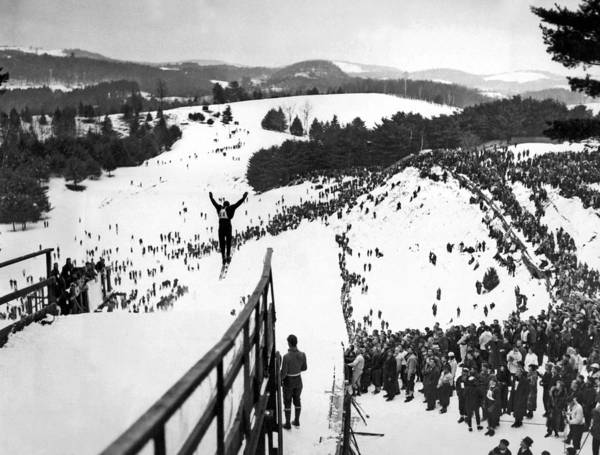 Ski Jumping Photograph - Ski Jumper At The Dartmouth Carnival by Underwood Archives