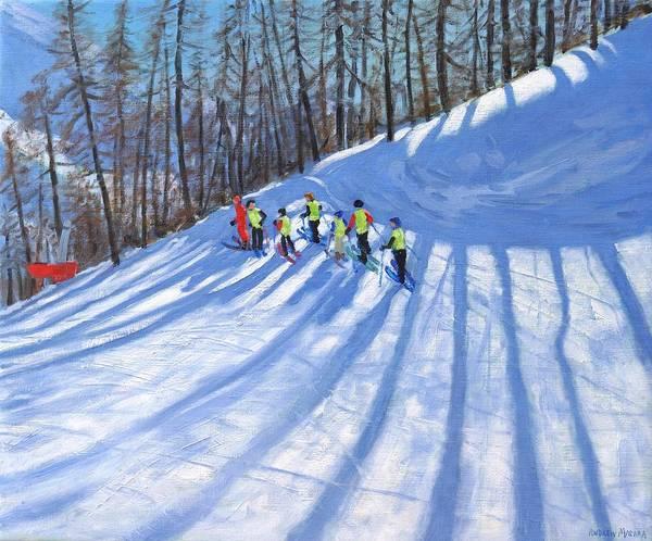 Macara Wall Art - Painting - Ski Lesson by Andrew Macara