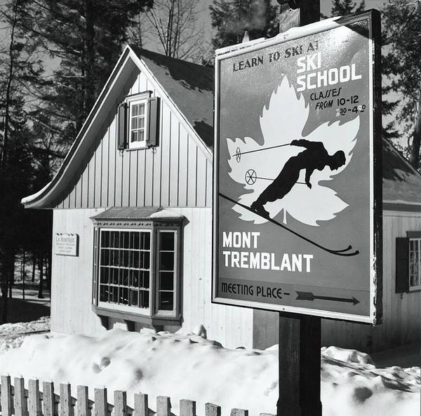 Sign Photograph - Ski School Sign At Mont Tremblant Ski Resort by Toni Frissell