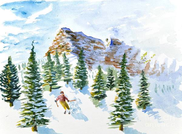 Painting - Skier In The Trees by Walt Brodis