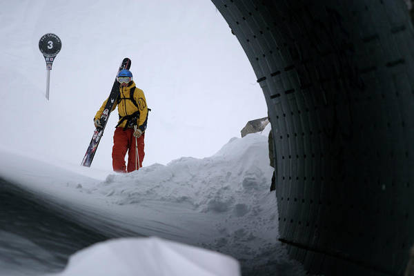 Wall Art - Photograph - Skier Is Waitng At A Dark Tunnel In Bad by Patrik Lindqvist