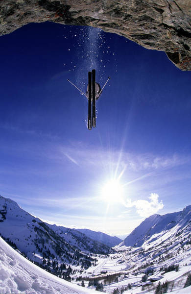 Wall Art - Photograph - Skier Jumping Off A Cliff At Alta, Utah by Scott Markewitz