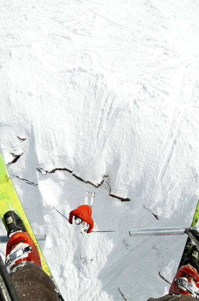 Skier Jumps Off Cliff Under Chairlift Art Print by Connor Walberg