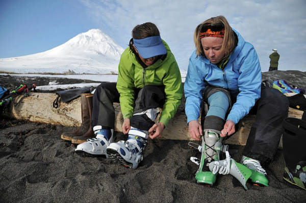 Gulf Of Alaska Photograph - Skiers Gear Up On The Beach by HagePhoto