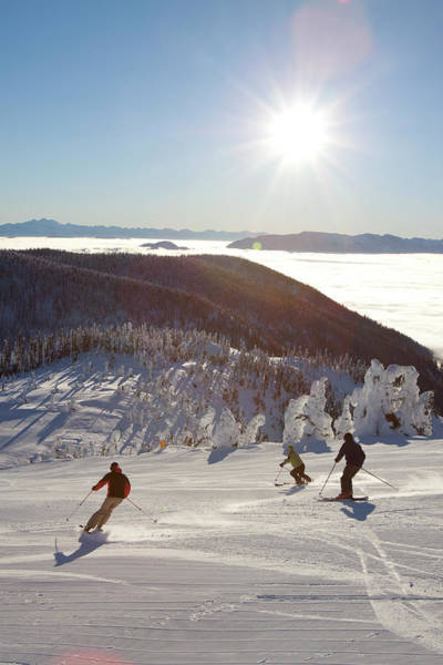 Wall Art - Photograph - Skiers On Fresh Groomed Slopes by Craig Moore
