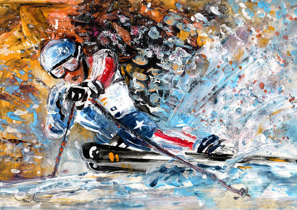 Wall Art - Painting - Skiing 04 by Miki De Goodaboom