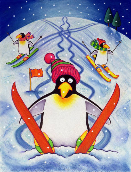 Winter Fun Painting - Skiing Holiday by Cathy Baxter