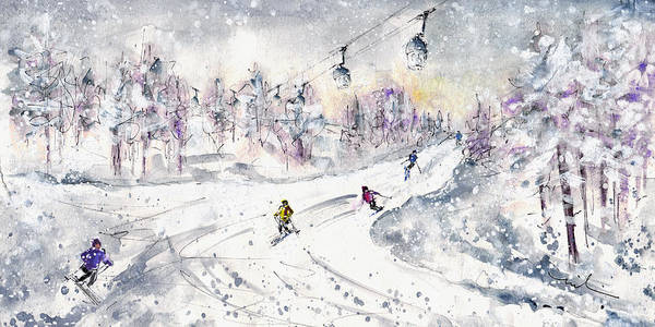 Wall Art - Painting - Skiing In The Dolomites In Italy 01 by Miki De Goodaboom