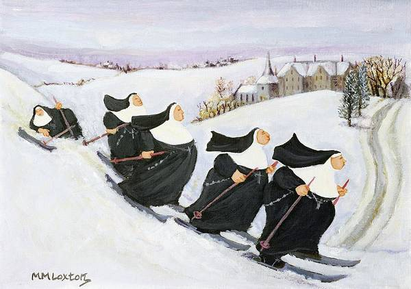 Winter Fun Painting - Skiing by Margaret Loxton