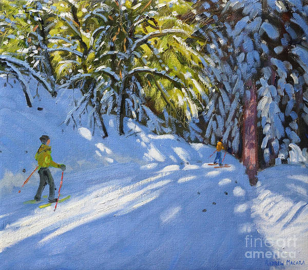 Winter Fun Painting - Skiing Through The Woods  La Clusaz by Andrew Macara