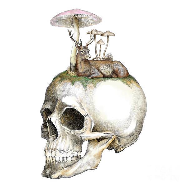 Deer Skull Digital Art - Skull And Mushrooms by Jakarin Prawatruangsri