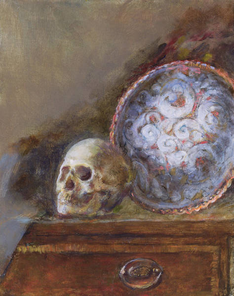 Chest Of Drawers Photograph - Skull And Plate Oil On Canvas by Gail Schulman
