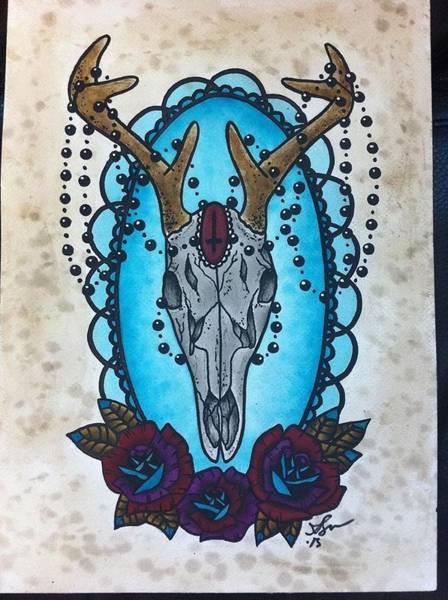 Deer Skull Digital Art - Skull And Roses  by Amanda  Brown