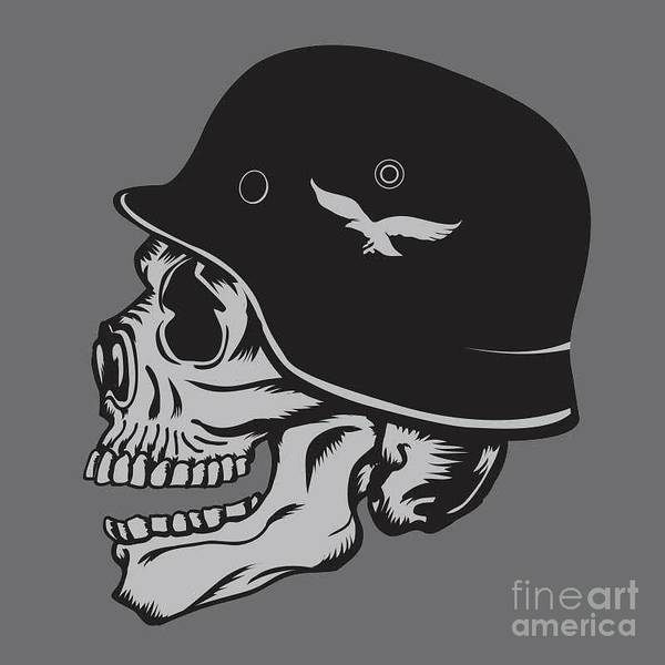 Wall Art - Digital Art - Skull Army Helmet Illustration by Syquallo