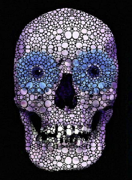 Painting - Skull Art - Day Of The Dead 2 Stone Rock'd by Sharon Cummings