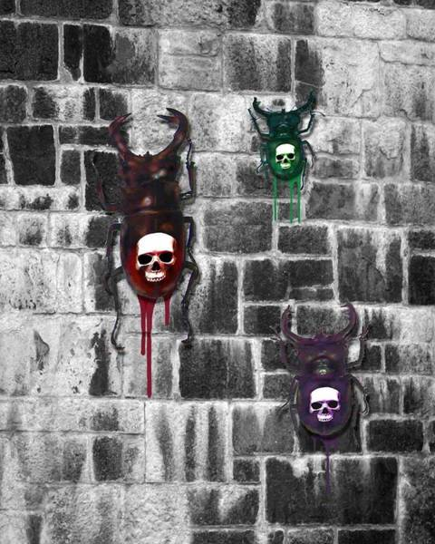 Wall Art - Digital Art - Skull Backed Beatles by Diana Shively