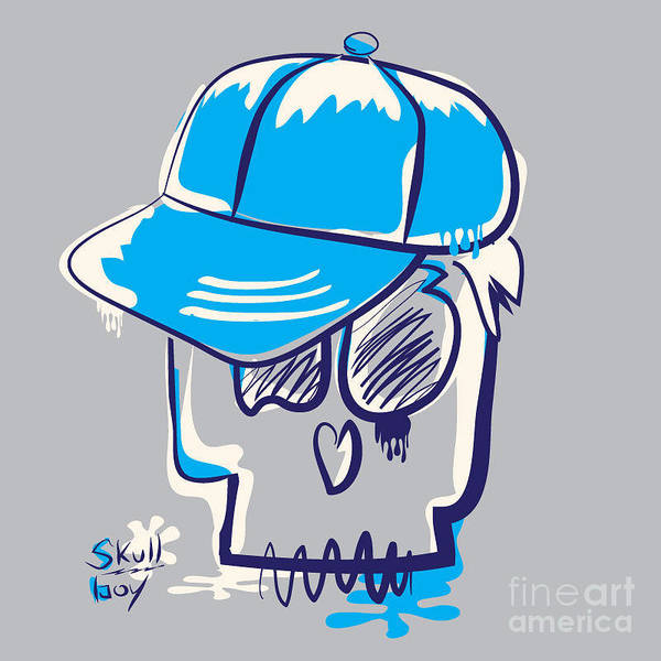 Wall Art - Digital Art - Skull Boy Illustration, Typography by Syquallo