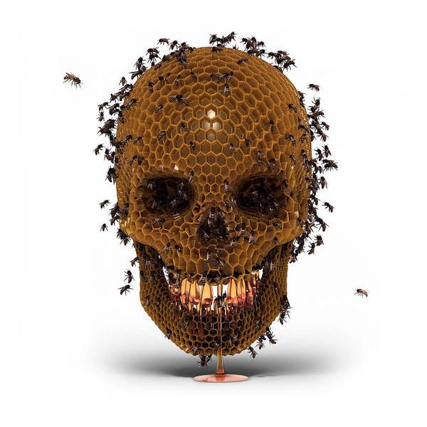 Beehive Digital Art - Skull Hive by Luke Dwyer