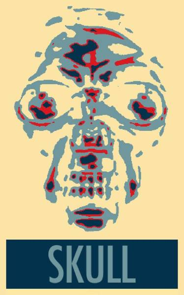 Caricature Mixed Media - Skull In Negative Hope by Rob Hans