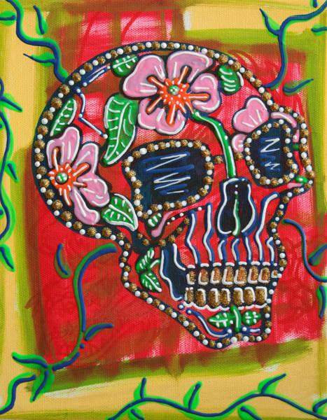 Wall Art - Painting - Skull Of Flowers by Laura Barbosa