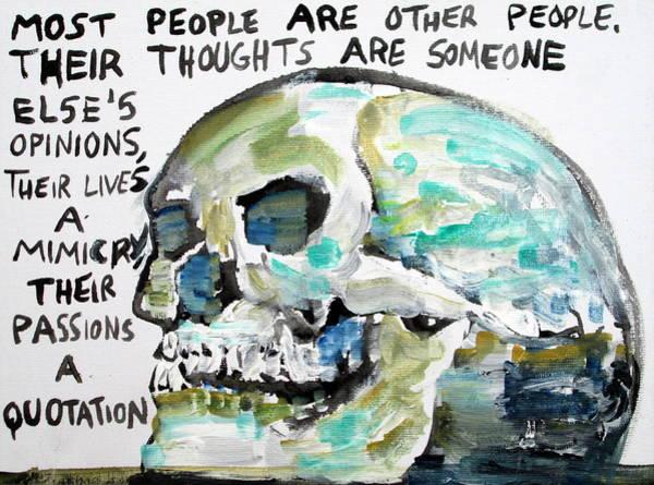 Bone Painting - Skull Quoting Oscar Wilde.10 by Fabrizio Cassetta
