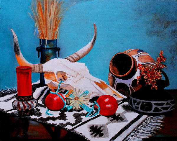 Sw Painting - Skull Still Life by M Diane Bonaparte