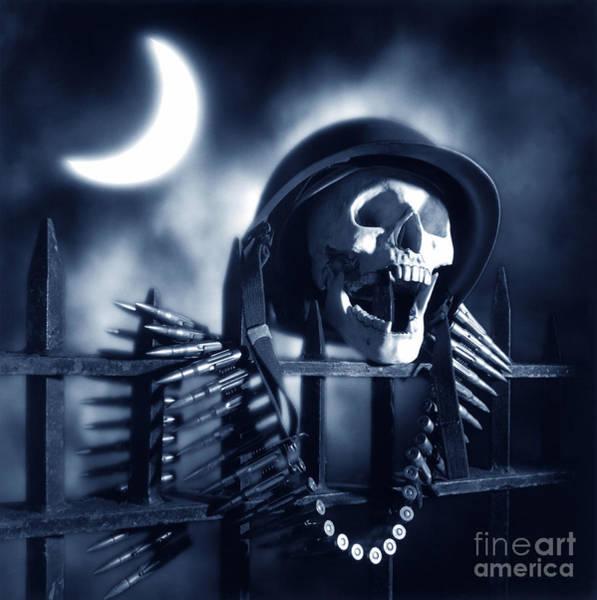 Bullets Photograph - Skull by Tony Cordoza