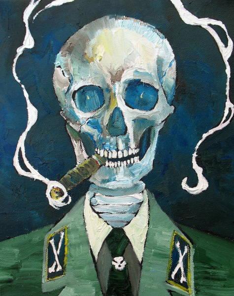 Skull Face Painting - Skull With Cigar by Fabrizio Cassetta
