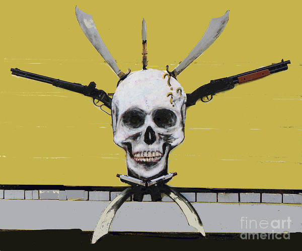 Mixed Media - Skull With Guns by Bill Thomson