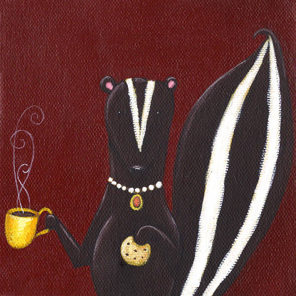 Burgundy Painting - Skunk With Coffee by Christy Beckwith