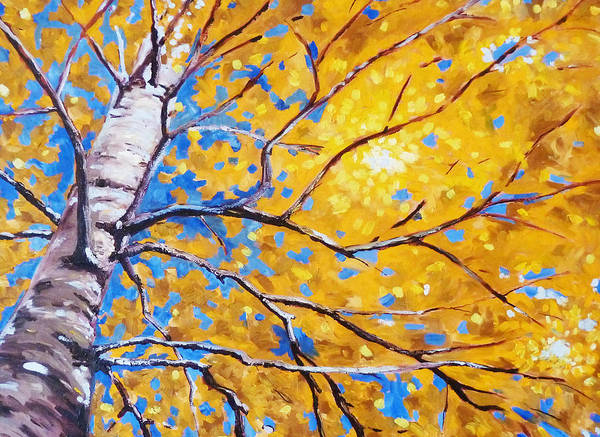 Gold Painting - Sky Birch by Nancy Merkle