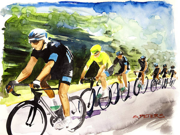 Le Tour De France Wall Art - Painting - Sky Blue With Yellow by Shirley  Peters