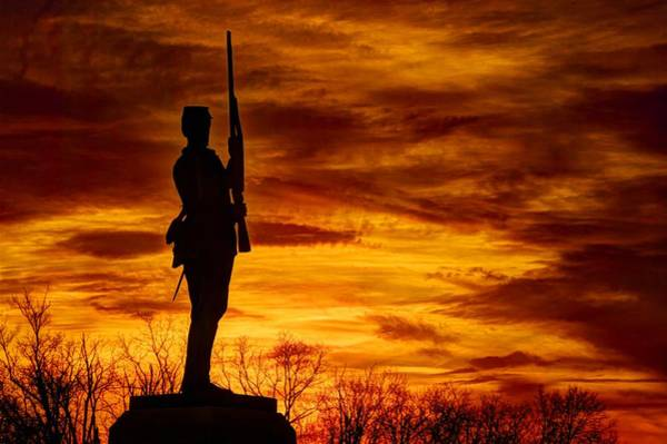 Wall Art - Photograph - Sky Fire - The Flames Of War - 11th Pennsylvania Volunteer Infantry At Gettysburg - Sunset Close3 by Michael Mazaika