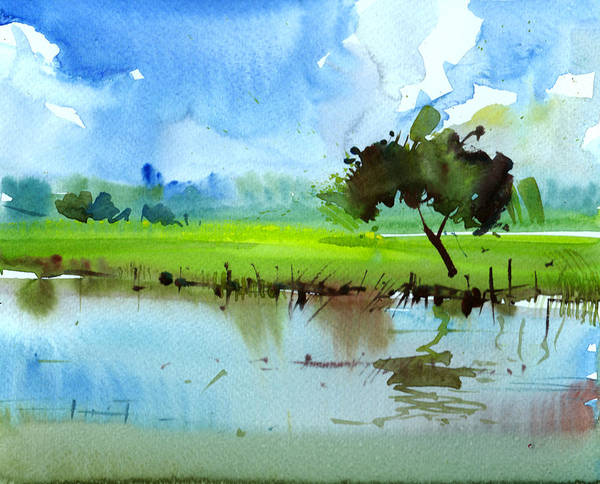 Painting - Sky N Farmland by Anil Nene