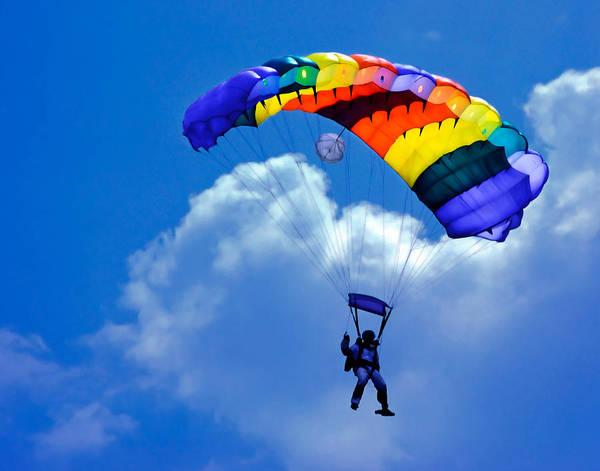 Skydive Wall Art - Photograph - Skydiver by David and Carol Kelly