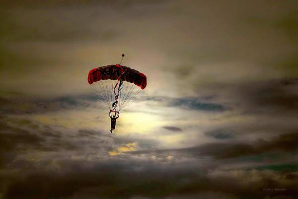 Skydiver Photograph - Evening Skydiver by Dyle   Warren