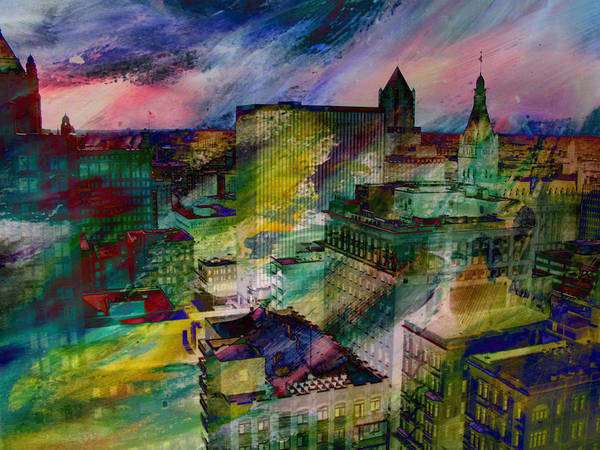 Digital Art - Skyline And Abstract Paint 1 by Anita Burgermeister