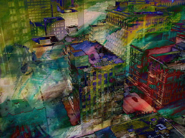 Digital Art - Skyline And Abstract Paint 2 by Anita Burgermeister