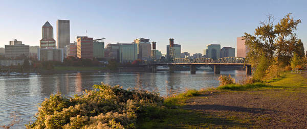 Willamette Photograph - Skyline At The Waterfront At Sunset by Panoramic Images