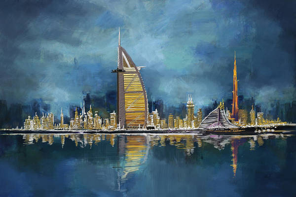 Dubai Marina Painting - Skyline Burj-ul-khalifa  by Corporate Art Task Force
