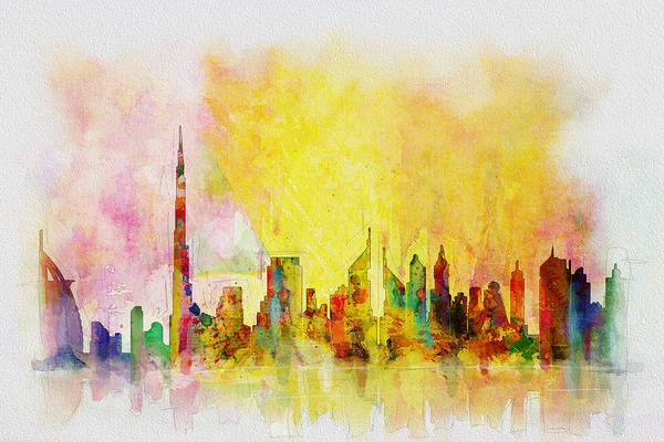 Dubai Marina Painting - Skyline Collage  by Corporate Art Task Force