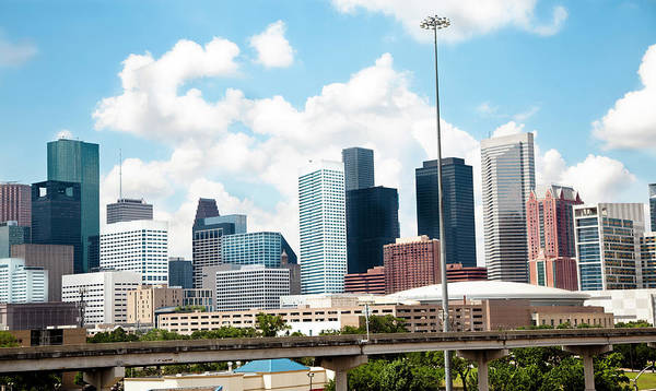 Parking Garage Photograph - Skyline Of Downtown Houston Texas by Fstop123