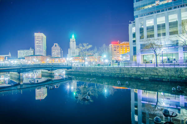 Photograph - Skyline Of Providence Rhode Island Skyline Through A Fisheye Len by Alex Grichenko