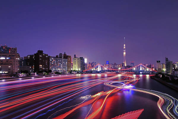 Multi Exposure Photograph - Skyline Of Tokyo With Tokyo Skytree by Photography By Zhangxun