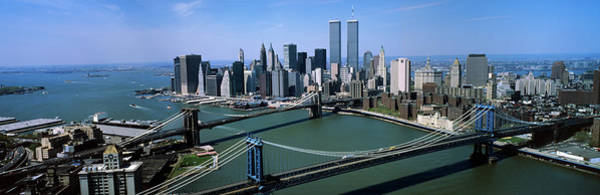 September 11 Attacks Photograph - Skyline Showing World Trade Center by Vintage Images