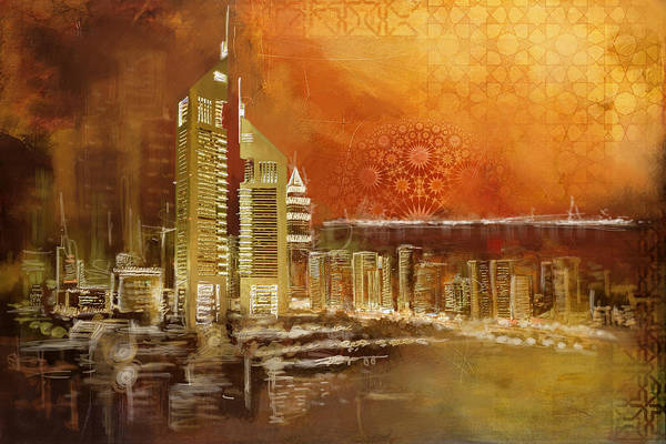 Dubai Marina Painting - Skyline View  by Corporate Art Task Force